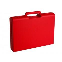 Carton de 10 mallettes en plastique rouge D01