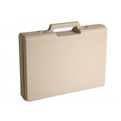 Carton de 10 mallettes en plastique beige D01
